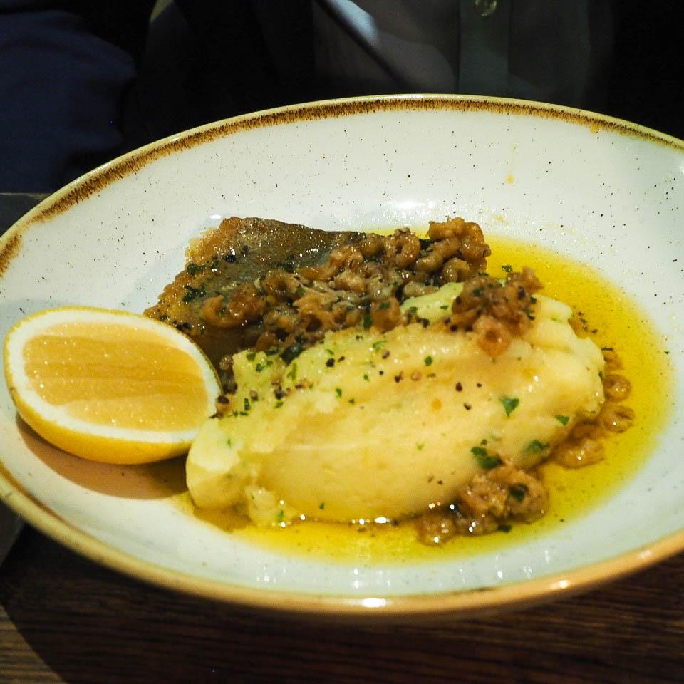 Roast cod with brown shrimp and gremolata mashed potato