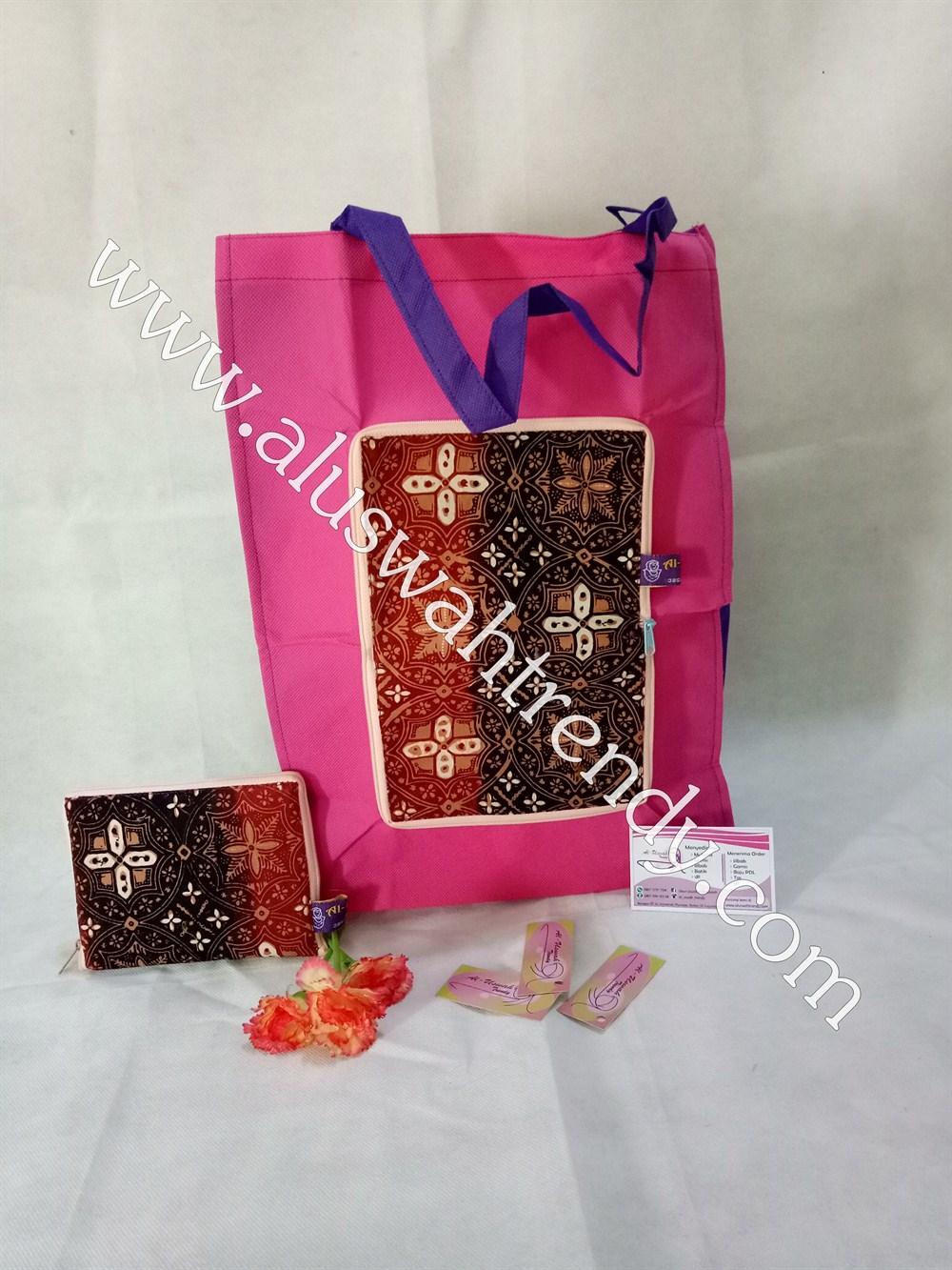 Tas Belanja Lipat Pink Motif Batik 016