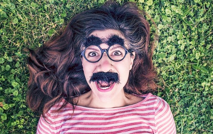 kobieta, maska, uśmiech, szczęście, radość, śmiech, sposób