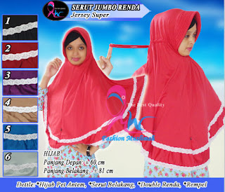 Jilbab serut belakang model instan dan jumbo aksesoris renda