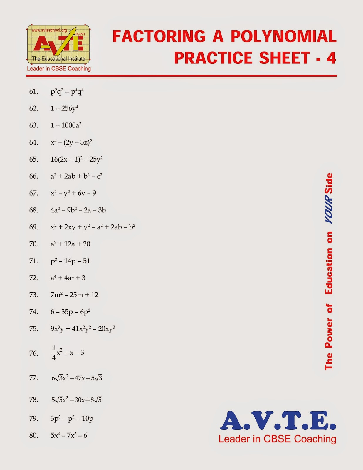 Factoring A Polynomial Practice Sheet 4