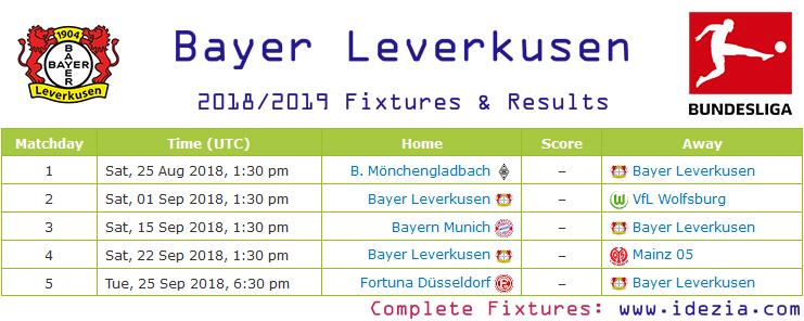 Baixar calendário completo PNG JPG Bayer Leverkusen 2018-2019