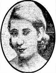 News clipping headshot of a young white woman with blonde hair coiffed in a 1930s style