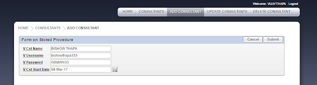 Add Consultant Tab was clicked