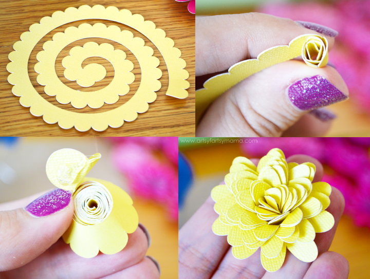Paper Flower Wreath Tutorial at artsyfartsymama.com