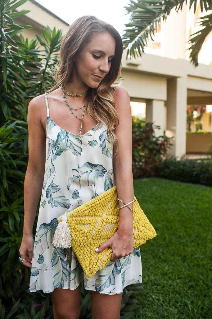 A palm print slip dress for summer