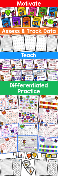Practice math fact fluency with this addition and subtraction superhero bundle. Your 1st, 2nd, 3rd, 4th grade, and home school students are sure to boost their mental math skills with these fun and interactive games and assessments. You will find posters, strategies, and flash cards that can be used for whole group, small groups, teams, partners, or individual practice. {first, second, third, fourth graders, add, subtract, adding, subtracting}