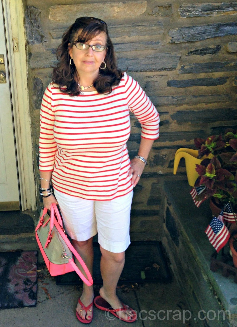 Coral Striped Nautical Shirt and White Shorte