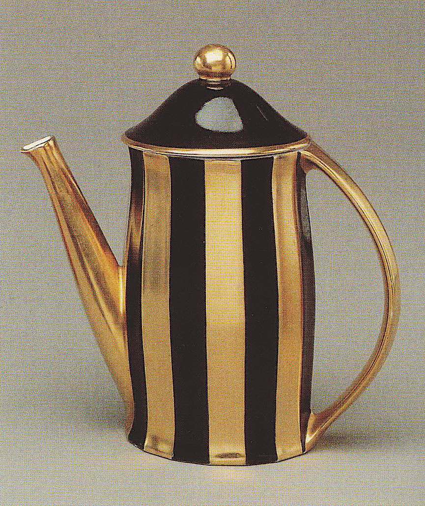 a Josef Hoffmann 1905 brown and gold coffee pot photograph