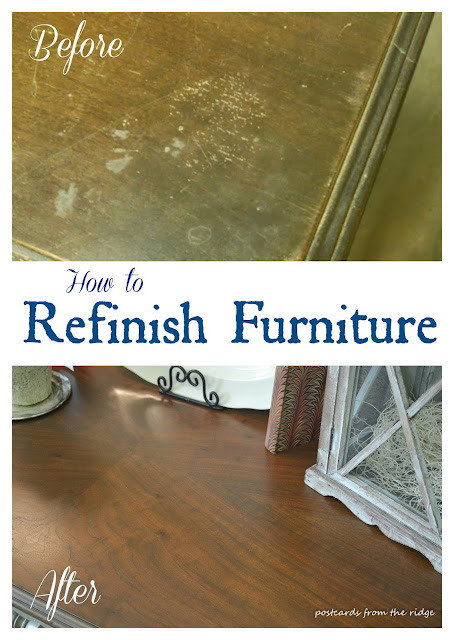before and after refinishing furniture