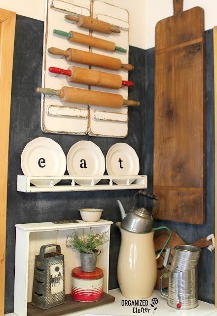 Stenciled Ironstone Plates organizedclutter.net