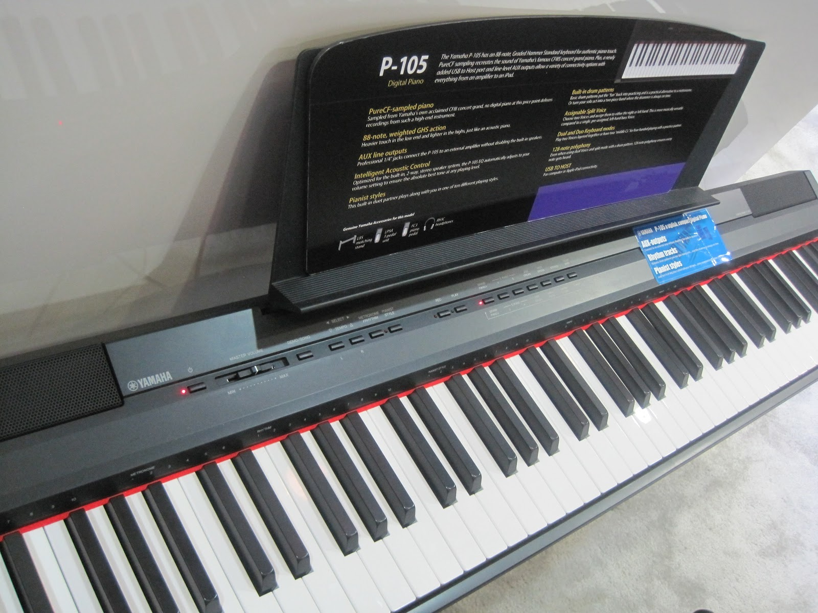 az piano reviews review yamaha p105 digital piano. Black Bedroom Furniture Sets. Home Design Ideas