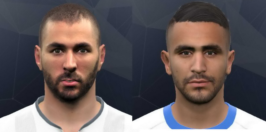 PES 2017 Mahrez and Benzema Face by Bekzadaev