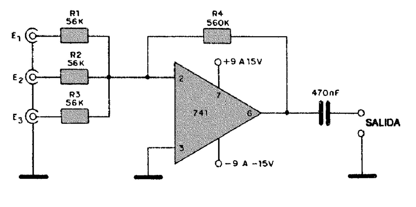 Eletronica Geral Entradas Do Mixer Com Tres 741