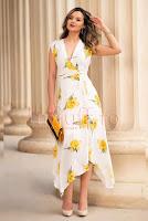 Rochie eleganta de vara alba cu imprimeu floral