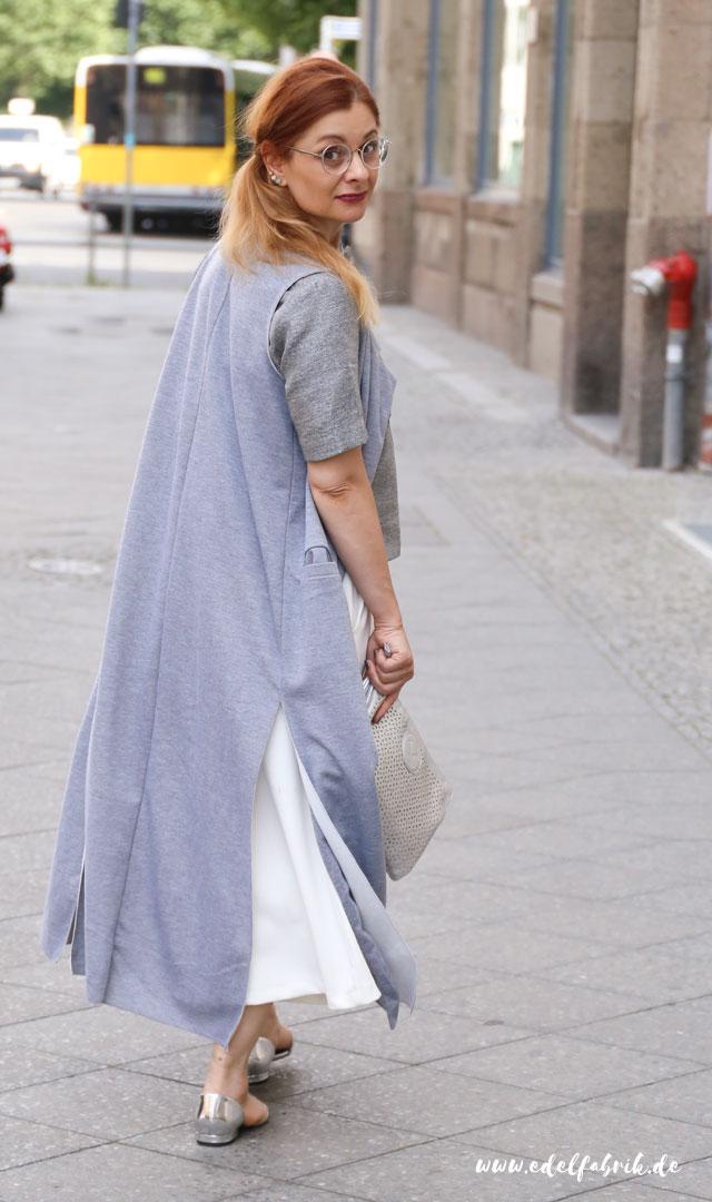 die Edelfabrik, Look, weiße Culottes, Outfit mit Metallic-Trend