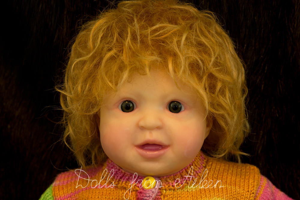 ooak posable baby doll's face with mohair wig