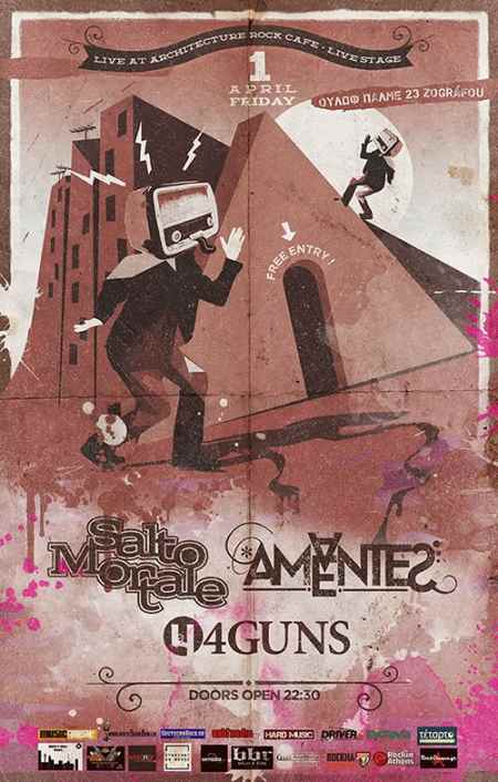 AMANTES AMENTES, SALTO MORTALE, 4GUNS: Παρασκευή 1η Απριλίου @ Architecture Rock Cafe