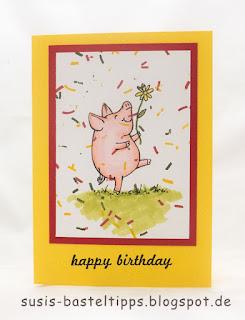 DIY stempel Konfetti karte mit stampin up stempelset glücksschweinchen von demonstratorin in coburg susis basteltipps