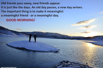 Old friends pass away, new friends appear. It is just like the days. An old day passes, a new day arrives. The important thing is to make it meaningful: a meaningful friend - or a meaningful day. good morning
