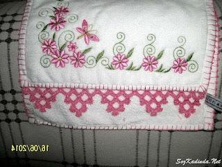 tığ oyası pembe havlu kenarı modelleri