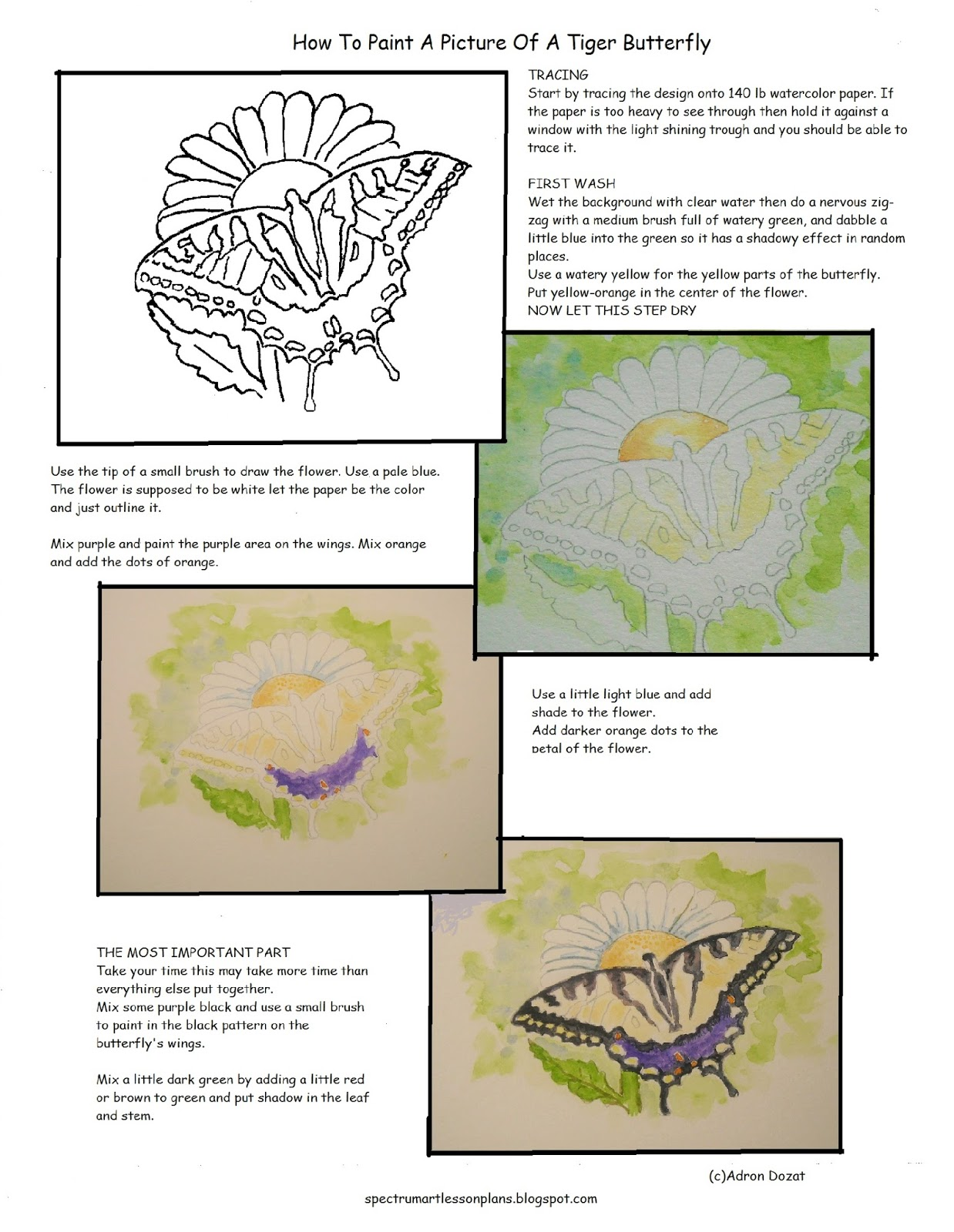 Adron S Art Lesson Plans How To Paint A Picture Of A Tiger Butterfly Worksheet
