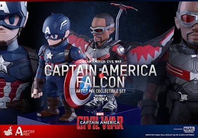 Captain America Civil War Artist Mix Figures by Touma & Hot Toys - Team Cap - Captain America & The Falcon
