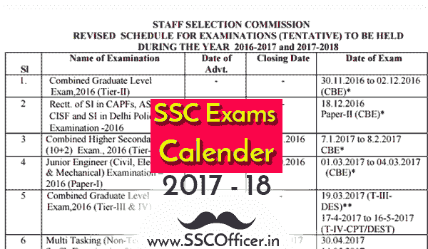Official SSC CGL/CHSL/CPO Exams Calendar 2017-18 [Download PDF] - SSC Officer