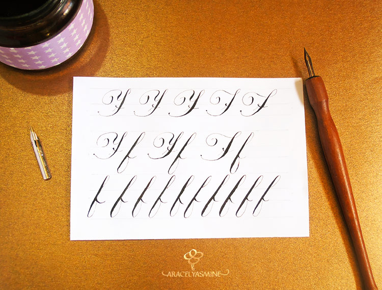 Caligrafía copperplate, ¿cómo escribir la letra F?