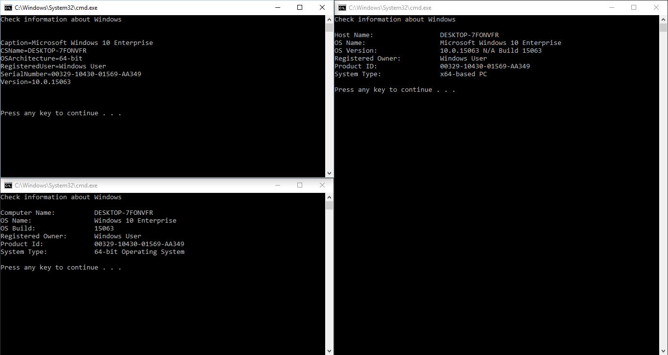 3 cách tạo batch file xem thông tin Windows