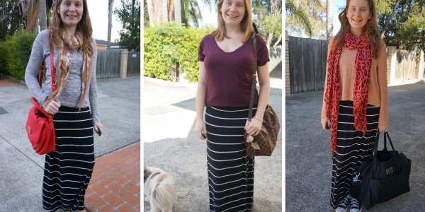 Postpartum style: easy maxi skirt comfortable outfit | Away From Blue