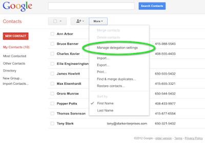 cara berbagi kontak google
