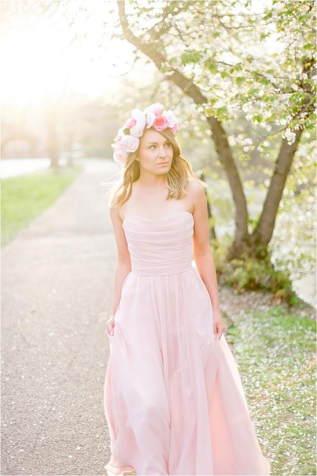 bridal, wedding, bride, makeup, hair, dress, nj photography, cherry blossom, branch brook park, flower crown