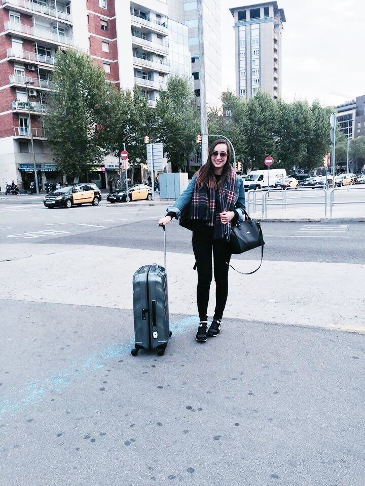 girl barcelona suitcase train station trip pack spain