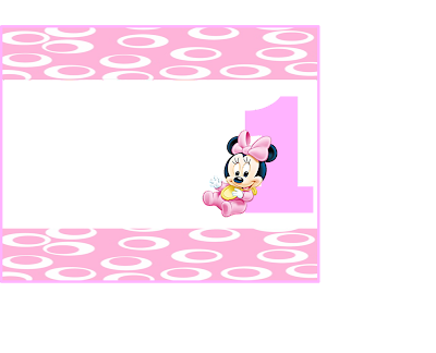 Etiquetas de  Minnie Primer Año para imprimir gratis.