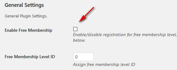 Disable free registration plugin setting