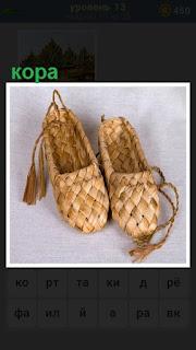 сделаны лапти из коры с завязочками