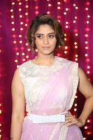 Surabhi in Designer Pink Saree and White Sleeveless Choli at Zee Telugu Apsara Awards 2017 08.JPG