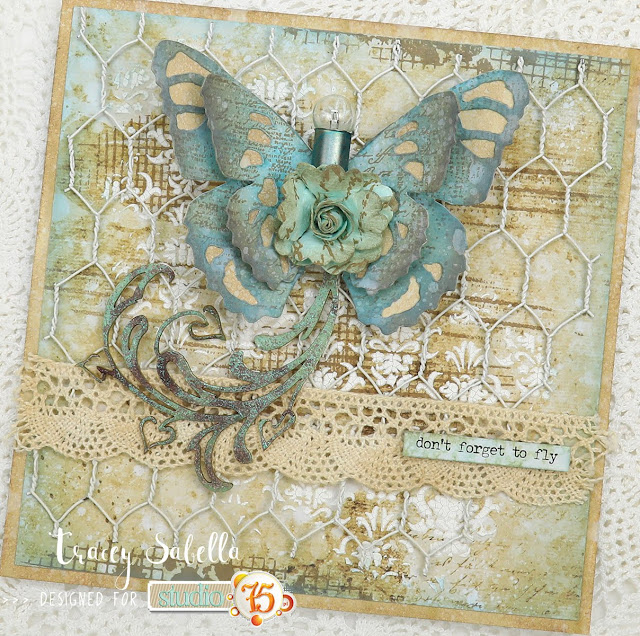 """Don't Forget to Fly"" Shabby Mixed Media Card by Tracey Sabella for Studio75: #traceysabella #studio75 #miszmasz #snipart #agateria #littlebirdiecrafts #littlebirdiecraftsflowers #acmoore #finnabair #helmar  #timholtz #rangerink #sizzix #darice #mixedmedia #tsukineko #versafine #colorbox #primamarketing #shabbychic #mixedmediaart #mixedmediacard #mixedmediacards #shabbychiccard #shabbychiccards #diycard #diycards #handcraftedcard #handcraftedcards #diycrafts  #handmadecard #handmadecards #chipboard #butterfly #butterflytrail"