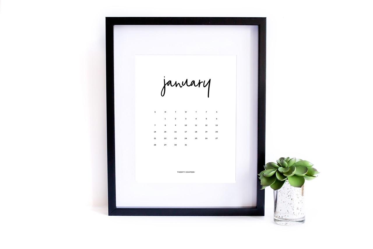 kalendarz 2018 do druku - minimalistyczny