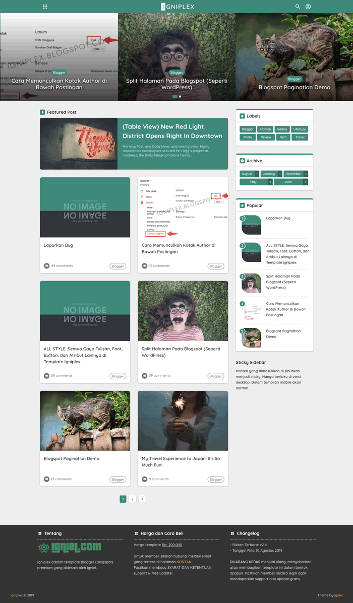 Igniplex Blogspot Theme Simple and Clean Material Design