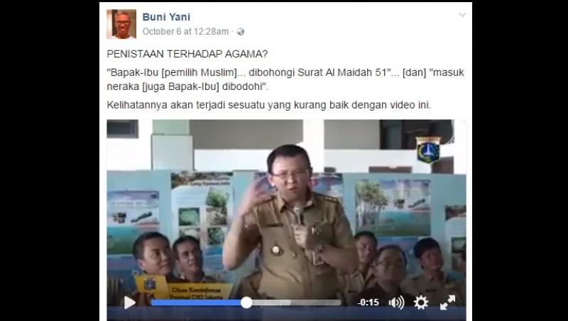 Buni Yani mengunggah video Ahok Al Maidah 51