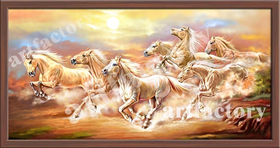 A Perfect Vaastu Seven Horses With Rising Sun Painting Vastu