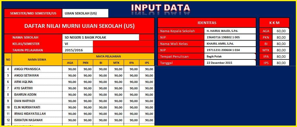 Download Kumpulan Aplikasi Nilai Siswa Sd