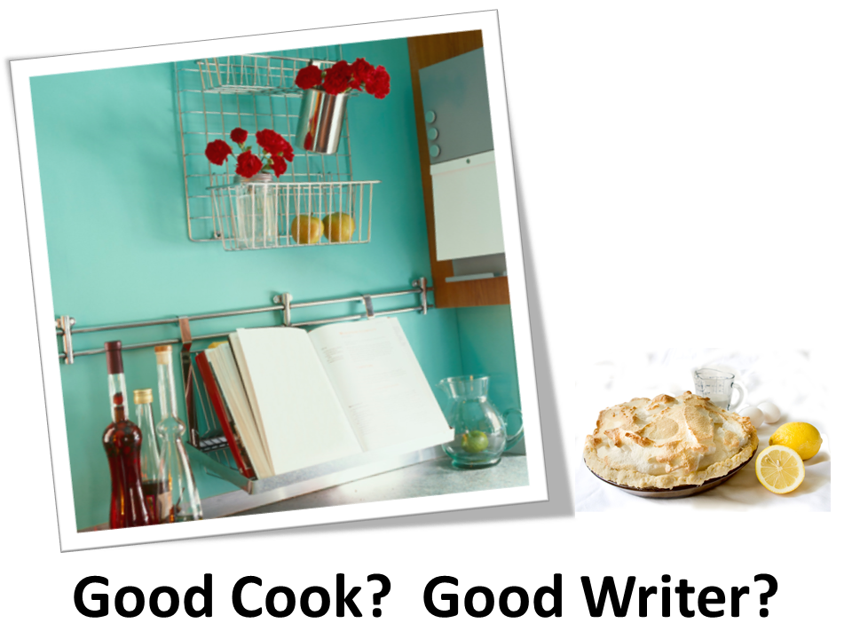 A cookbook lays open in a lovely kitchen and a lemon meringue pie sits finished.