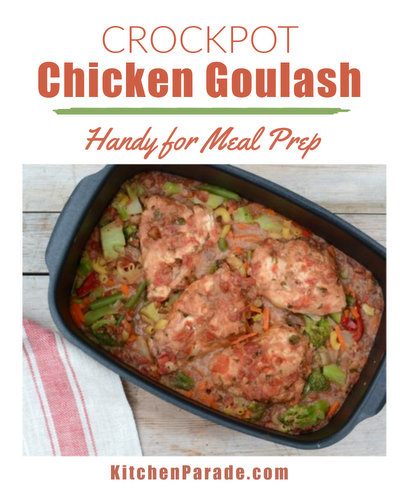 Crockpot Chicken Goulash ♥ KitchenParade.com. Budget-Friendly, Just Eight Ingredients. Weeknight Easy. Weight Watchers Friendly. Naturally Gluten Free. High Protein.