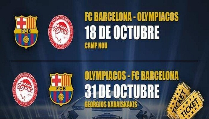 Partido Barcelona vs Olympiacos ONLINE