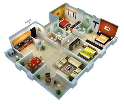 Tampilan 3D Desain Rumah Minimalis Dengan 3 Kamar Tidur Sederhana 2