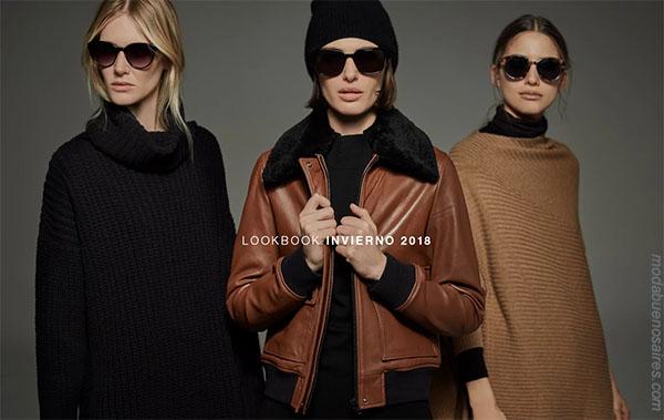 Looks de moda otoño invierno 2018 mujer | Moda otoño invierno 2018 Mujer Argentina: Camperas de cuero, sweaters tejidos.