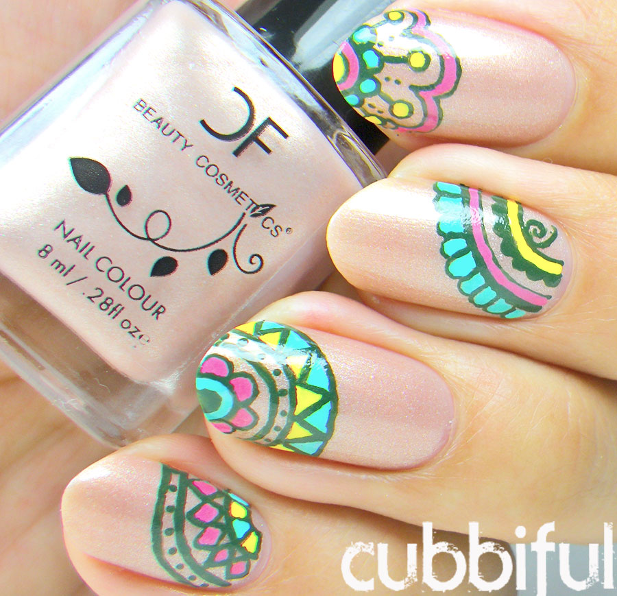 cubbiful: Mandala Nail Art with CF Beauty Cosmetics - Swatch & Review